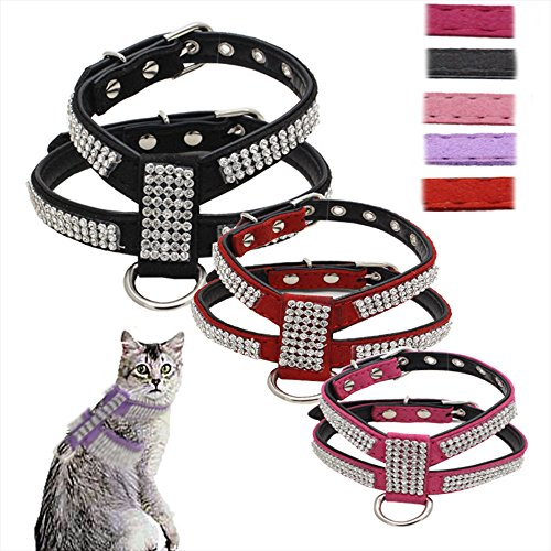 Alxcio Pet Puppy Cat Dog Collar Adjustable Harness Chest Strap Belt with Diamonds Easy Fit Durable PU Leather & Bling Diamante Rhinestone Crystal S/ M/ L Black/ Red/ Pink/Purple/Rose red 5 Colors