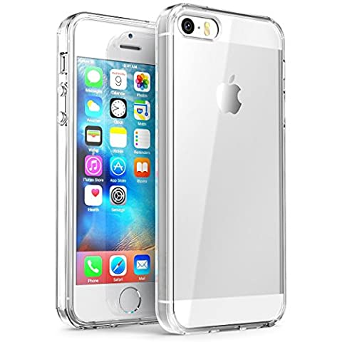 iPhone SE Case,Splaks® [Crystal Shell] Extra Shock-Absorb Clear back panel ,Extreme Lightweight Transparent Soft Flexible Silicone Rubber Anti-Scratch Protective Case For iPhone SE/5 SE/5/5S-Crystal