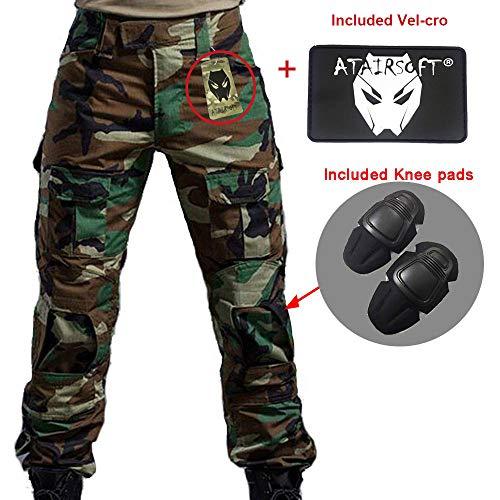 WorldShopping4U Hommes BDU Tournage Combat Pantalons Pantalon avec Genou Coussinet Woodland Camo pour Tactique Militaire Armée Airsoft (WL, L)