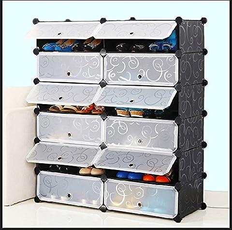 AcornFort DIY 12 Gates 2 Columns 6 Tiers Interlocking Shoe Rack Storage Cubes Shelves Organisers 110CM * 95CM * 37CM