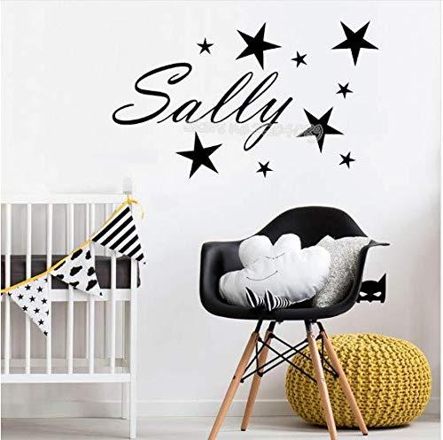 Pequeñas estrellas pegatinas de pared nombre personalizado personalidad calcomanías de pared vinilo arte de la pared murales DIY niños decoración del dormitorio del bebé fq615