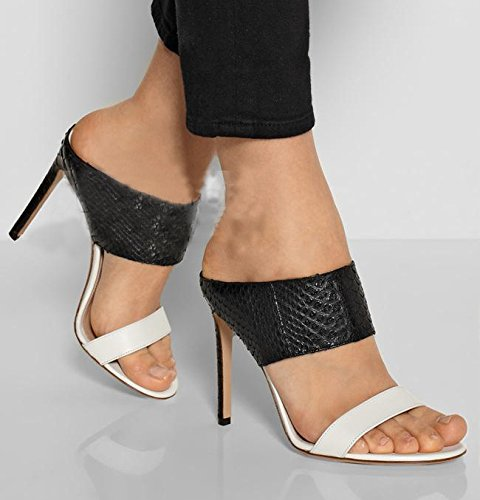 YCMDM Femmes Grande taille Combat Serpentine Chaussons à talons hauts Sandales en noir et blanc black and white