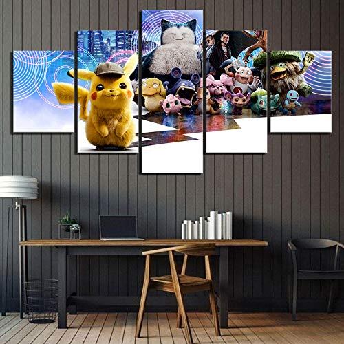 MIYCOLOR 5 Stück HD Bild Pokemon Detective Pikachu Movie Poster Leinwand Gemälde Tasche Monster Cartoon Wandbilder für Wohnkultur, 40x60 40x80 40x100
