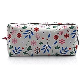 lparkin Floral Studenten Super großer Kapazität Leinwand Federmäppchen Pen Tasche stationären Fall Kosmetiktasche, (weiß)