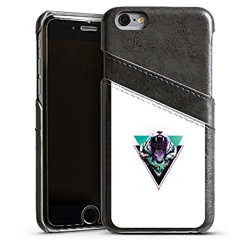 Apple iPhone 5s Housse Étui Protection Coque Tigre des neiges Triangle Triangle Étui en cuir gris