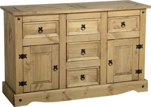 Corona Living Room Range - Mexican Pine Living Room Furniture - Full Living Room Range (Corona 2 Door 5 Drawer Sideboard)