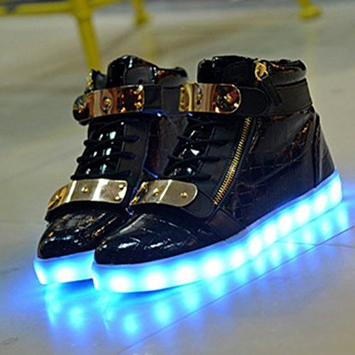 [Présents:petite serviette]JUNGLEST® 7 couleurs Changement USB de recharge Chaussures LED Light-Up Clignotant Sport High Top Sneakers lumineux Black