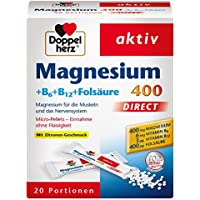 Doppelherz Magnesium 400 DIRECT – Nahrungsergänzungsmittel mit Magnesium als Beitrag für die normale Muskelfunktion – Plus B6, B12 und Folsäure – 1 x 20 Portionen Micro-Pellets
