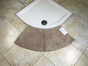 Cazsplash Luxe Quadrant Medium courbé Tapis de douche, en microfibre, pierre, 110x 45x 2.5cm