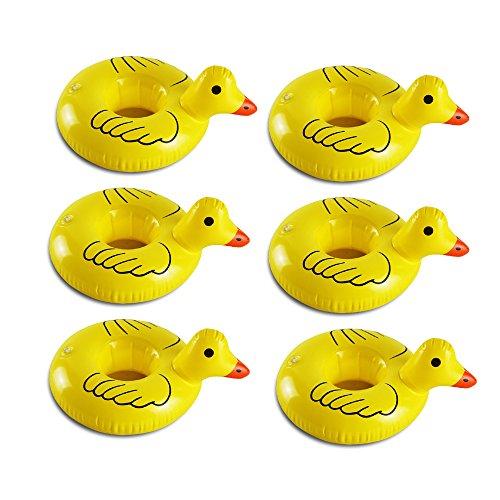 gonflable Eau Porte-gobelets, 6pcs Canard Motif Peut flottant Float Verre piscine Bain...