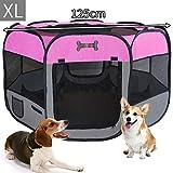 MC Star Oxford Pieghevole Box per Cani Impermeabile Grande Recinto per Animali, Cuccioli, Cane, Gatti, Porcellini d'India, per Interno o Esterno,125 x 64 cm(Rosa)