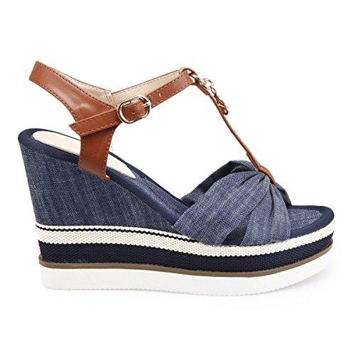 La Modeuse SandalesBI-Matière Style Denim Bleu