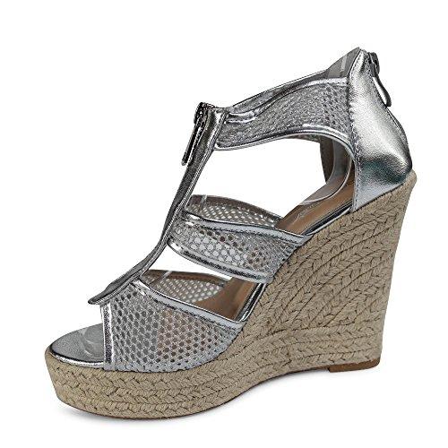 Damen Sandalen Keilabsatz Sandaletten ST127 High Heels Plateau Silber Glitzer