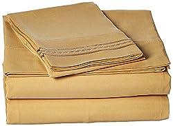 Jessica Sanders Premier 1800 Series 3pc Bed Sheet Set- Twin (Single), Camel Gold, (75