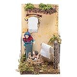 Frau wäscht Kind 7cm bewegliche Krippenfigur