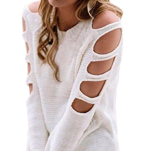 Damen New Pullover FORH Frauen Vintage Einfarbig Langarm Pullover Sexy Off Schulter Stricken Pullover Sweatshirt Bluse Tops Blusentop Outerwear (Weiß, M) (Kabel Stricken Pullover Kleid)
