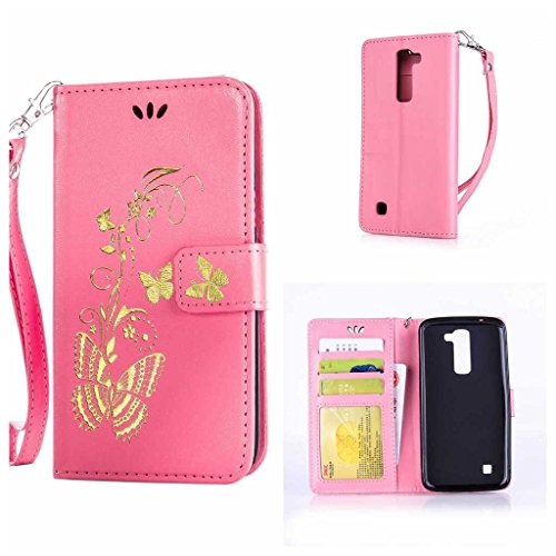 Product Image of LG K7 / K8 Case + Free Tempered Glass Screen Protector, BoxTii® PU Leather Wallet Case with [Lanyard Strap] for LG K7 / K8, Golden Butterfly Design Elegant Folder Wallet with [Kickstand] [Card Slots] [Magnetic Closure] (#8 Pink)