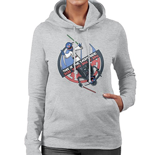Grover Lightside Darkside Sesame Street Star Wars Women's Hooded Sweatshirt Heather Grey