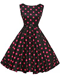 Vestido oscilante para mujer, estilo vintage, años 50, estilo retro, cuello redondo, sin mangas, para fiesta, cóctel,…