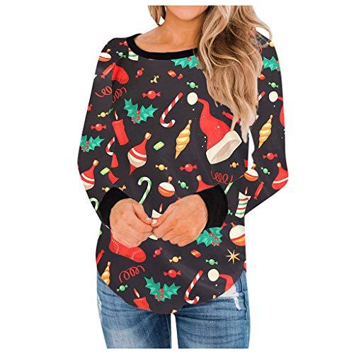 LRWEY T-Shirt à Manches Longues décontracté pour Femmes imprimé de Noël Hauts Blouse Sweat Shirts Tops