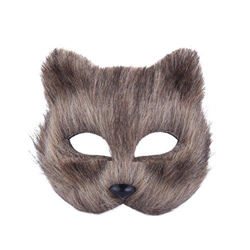 Luoem maschera di volpe mezza faccia maschera animale accessorio cosplay per halloween carnevale masquerade (grigio)
