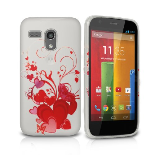Price comparison product image FoneM8® - Love Heart Designer Gel Case For Motorola Moto G