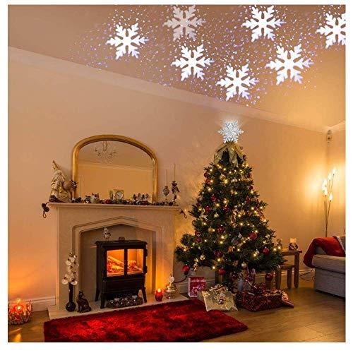 LED Effekt Licht Projektor mit weißen bewegten Schneeflocken Beamer Weihnachten