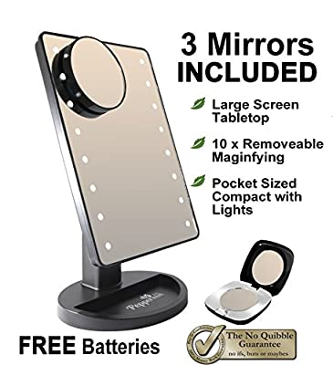 Peppermint Cafe - Light Up Mirror Makeup Mirror with Lights Set Black | Large Screen with Touch Screen 16 Bright LEDs | Portable Cordless LED Illuminated Mirror for the Home or Office Tabletop or Travel in the Bedroom, Bathroom, Dressing Table or Shaving