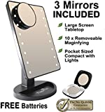 Peppermint Cafe - Light Up Mirror | Black Makeup Mirror with Lights Set | Large Touch Screen with 16 Natural Bright LEDs | Portable Cordless LED Illuminated Mirror for Home, Office, Tabletop or Travel