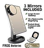 Peppermint Cafe® - Beleuchtete Desktop-Make-up-Spiegelbox-Set (16 LED-Leuchten) Komplett mit abnehmbaren 10-fach Vergrößerungsspiegel & Taschenformat Kompakt-Spiegel