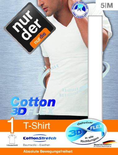 Nur Der Herren Unterhemd T-shirt 3d-flex V-ausschnitt Weiß (Weiß)