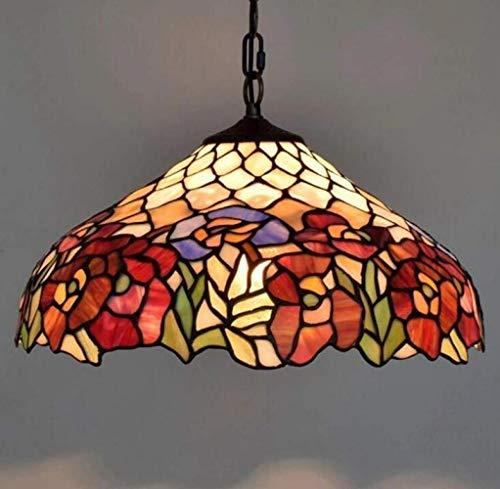 QHY Stil Hängelampe Vintage Glasmalerei Pendelleuchten, E27 Moderne Eisenkette Lampe Pendelleuchte Wohnzimmer Esszimmer Bar Gear Flur Balkon Deckenleuchte, 40Cm Max: 40W,Farbe,A - Moderne Glasmalerei
