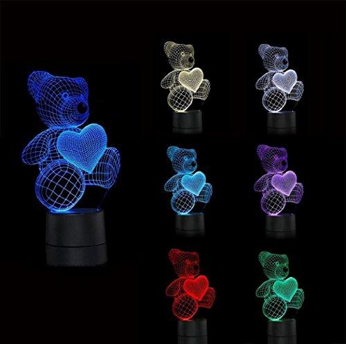 LOTOS® 3D Optical Illusion Amore Cuore Orsi visualizzazione unica decorazione domestica USB alimentato tocco interruttore colorato gradiente Bambini Bambini risparmio energetico della luce di notte