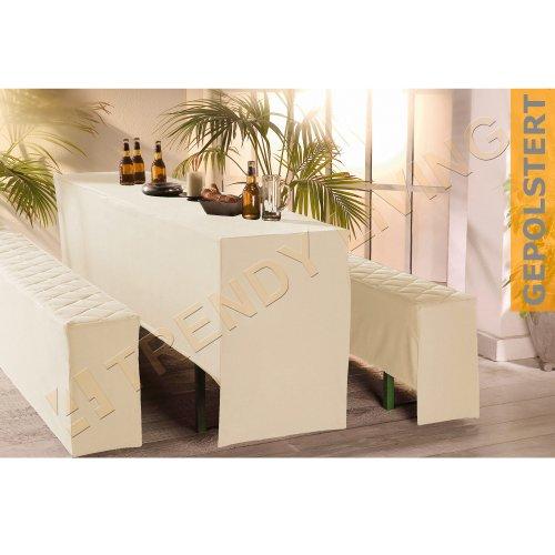 3-tlg. Premium Bierbankhussen-Set | 50x220cm | gepolstert | creme | Bierzeltgarnitur...
