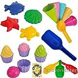 Sandspielzeug: 4 Sandförmchen + 5 Eistüten + 1 Portionierer + 8tlg. Cup Cake Set + 1 Mehlschaufel Strand Sandkasten