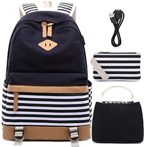 """Teenager Mädchen Canvas Stripe Rucksack passt 15,6\""""Laptop mit USB Lade Port Handtasche Tasche und Lunch Bag 3 Packs Schwarz"""