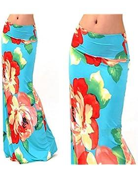 Hrph Lápiz de la manera verano de las mujeres flor larga atractiva de Bohemia Faldas playa de la falda maxi
