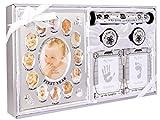 Caja de recuerdos de 5 piezas, unisex, con marco para la primera foto, caja para el primer rizo y primer diente y kit de estampación de huellas de mano y pie- plateado SHINY SILVER