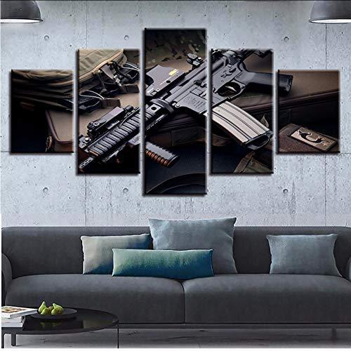 jixiaosheng (Kein Rahmen) Leinwand Wandkunst Spiel Bilder 5 Stücke Machine Gun Gemälde HomeDecor Hd DrucktPosterRArbeit -