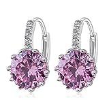 Ogquaton Moda Zircon Pendientes Pink Diamond Crystal Stud Pendientes Brillantes Mujeres Señoras Eardrop Regalo de la joyería