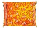 Kascha Sarong Pareo Wickelrock Strandtuch Tuch Wickeltuch Handtuch - Blickdicht - ca. 170cm x 110cm - Rot Gelb Batik mit Fisch Motiv Handgefertigt inkl. Kokos Schnalle in Runder Form