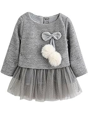 Kobay Kleinkind Baby Kind Mädchen Lange Ärmel Gestrickt Bow Newborn Tutu Prinzessin Kleid 0-24M