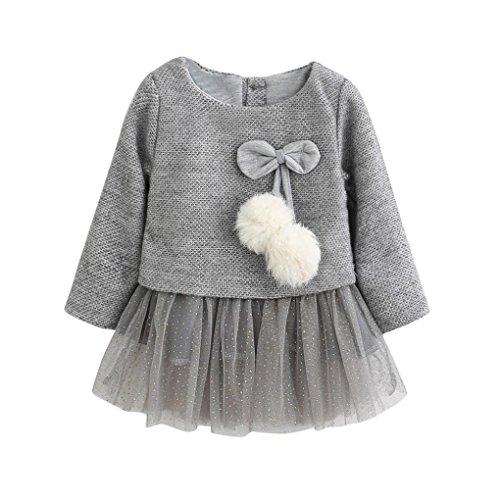 Kobay Kleinkind Baby Kind Mädchen Lange Ärmel gestrickt Bow Newborn Tutu Prinzessin Kleid 0-24M (80 / 6-12Monat, Grau)