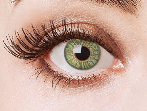 aricona Kontaktlinsen Farblinsen farbig grüne Kontaktlinsen - natürlich farbige Jahreslinsen für den Alltag, bunte 12- Monats Linsen für helle Augenfarben