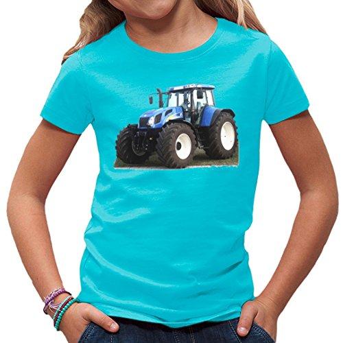 Traktoren Kinder T-Shirt - Traktor New Holland T7 by Im-Shirt - Azurblau Kinder 5-6 Jahre