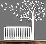 Zwei süße, eulen große weiße baum wandsticker baby kindergarten schlafzimmerwand art decor eule und vögel Wandtattoos (Pink,Linke)
