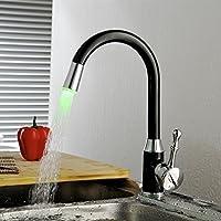 Green & Spring LED - Rubinetto cucina con miscelatore a manico singolo, colore: nero / bronzo lucidato a