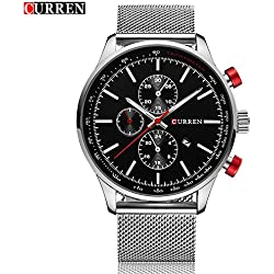 CURREN Fashion New Men's Quartz Date Stainless Steel Band Black Dial Wrist Watch 8227G