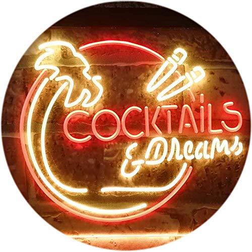 AdvPro 2C Cocktails & Dreams Bar Pub Club Dual Color LED Barlicht Neonlicht Lichtwerbung Neon Sign Red & Yellow 16\