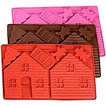 luvcals navideño de casita de jengibre molde de silicona Fondant Cake Herramientas de decoración de chocolate